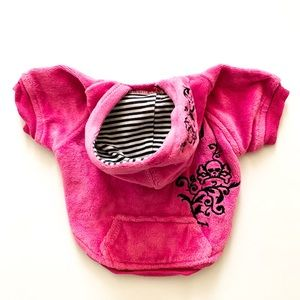 Embroidered Hot Pink Sweater Hoodie with Pocket